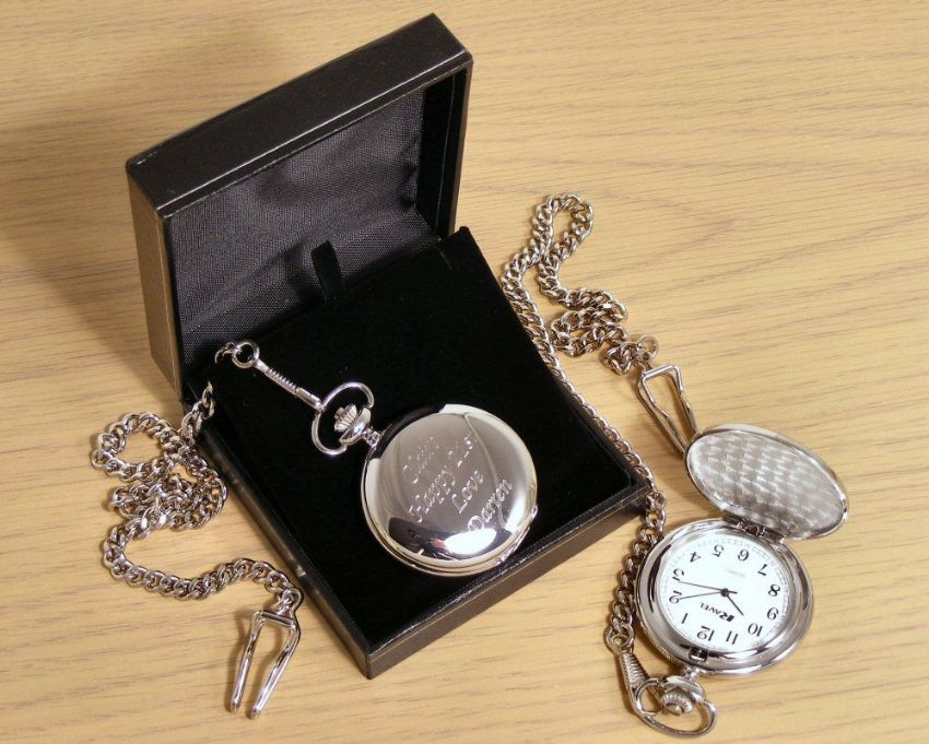 Engraved Men's Pocket Watch Silver Finish Personalised Gift